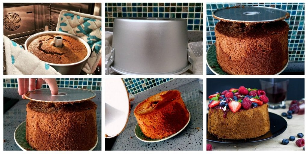 chiffon cake al succo di mirtillo step by step